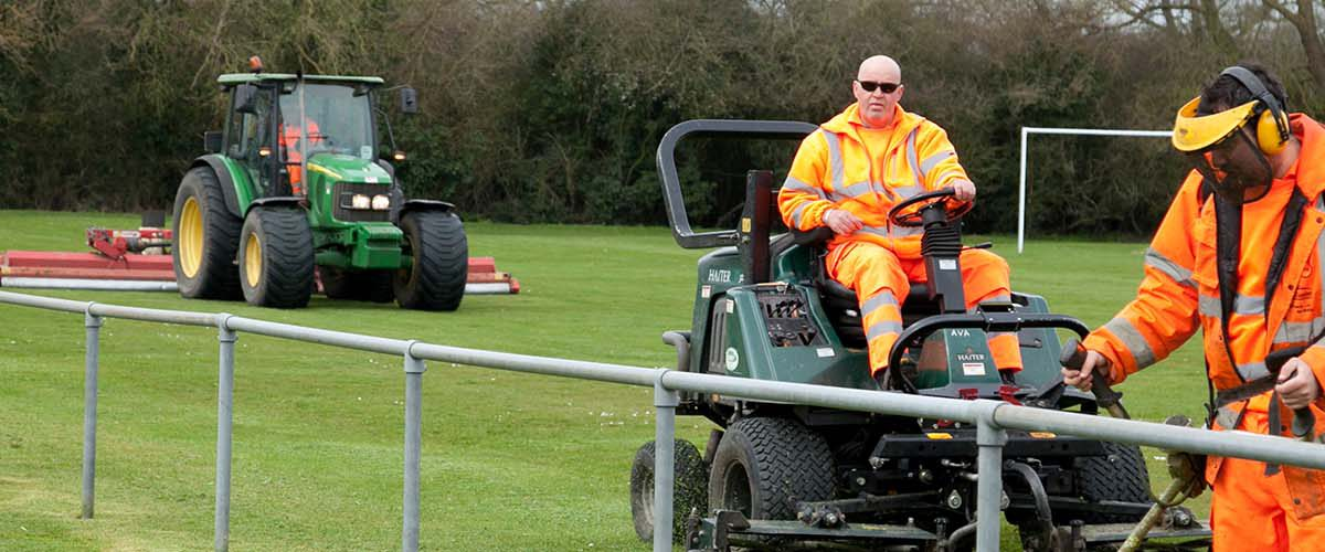 mowing and tending to sports pitches